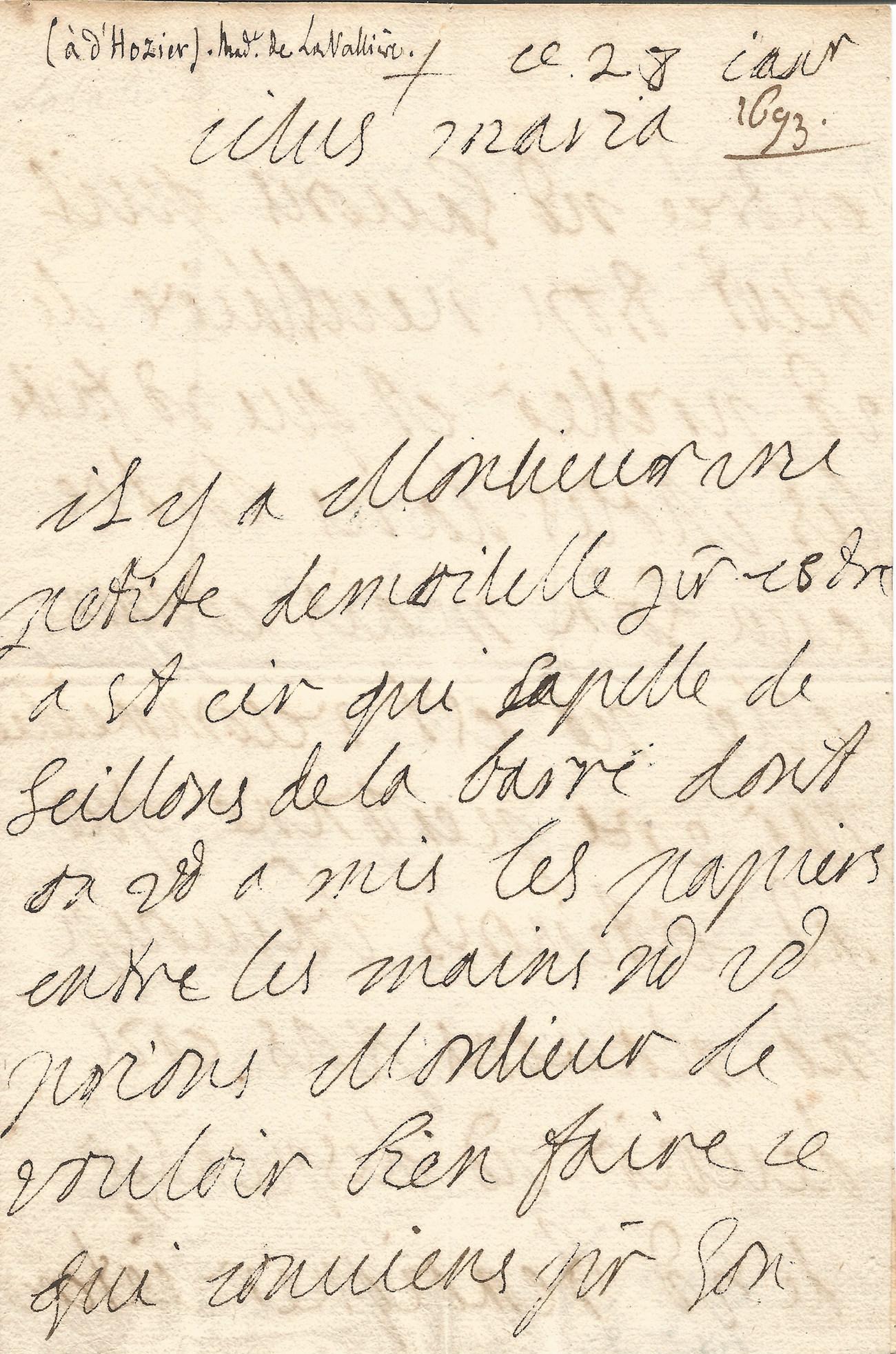 Duchesse De La Valliere Louis Xiv Lettre Autographe Signee