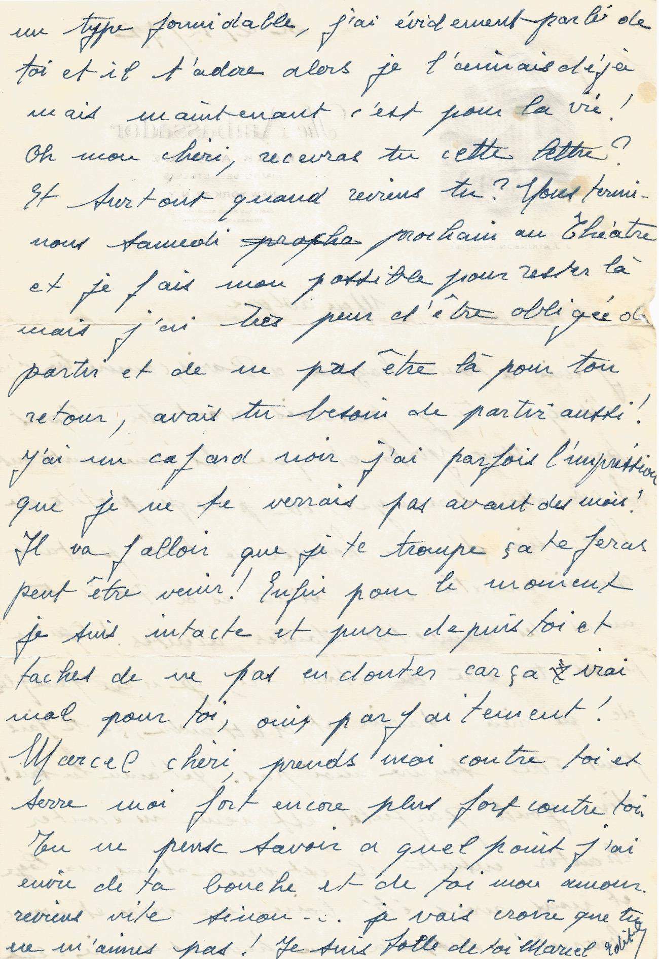 Piaf Edith Lettre Autographe à Marcel Cerdan 1947