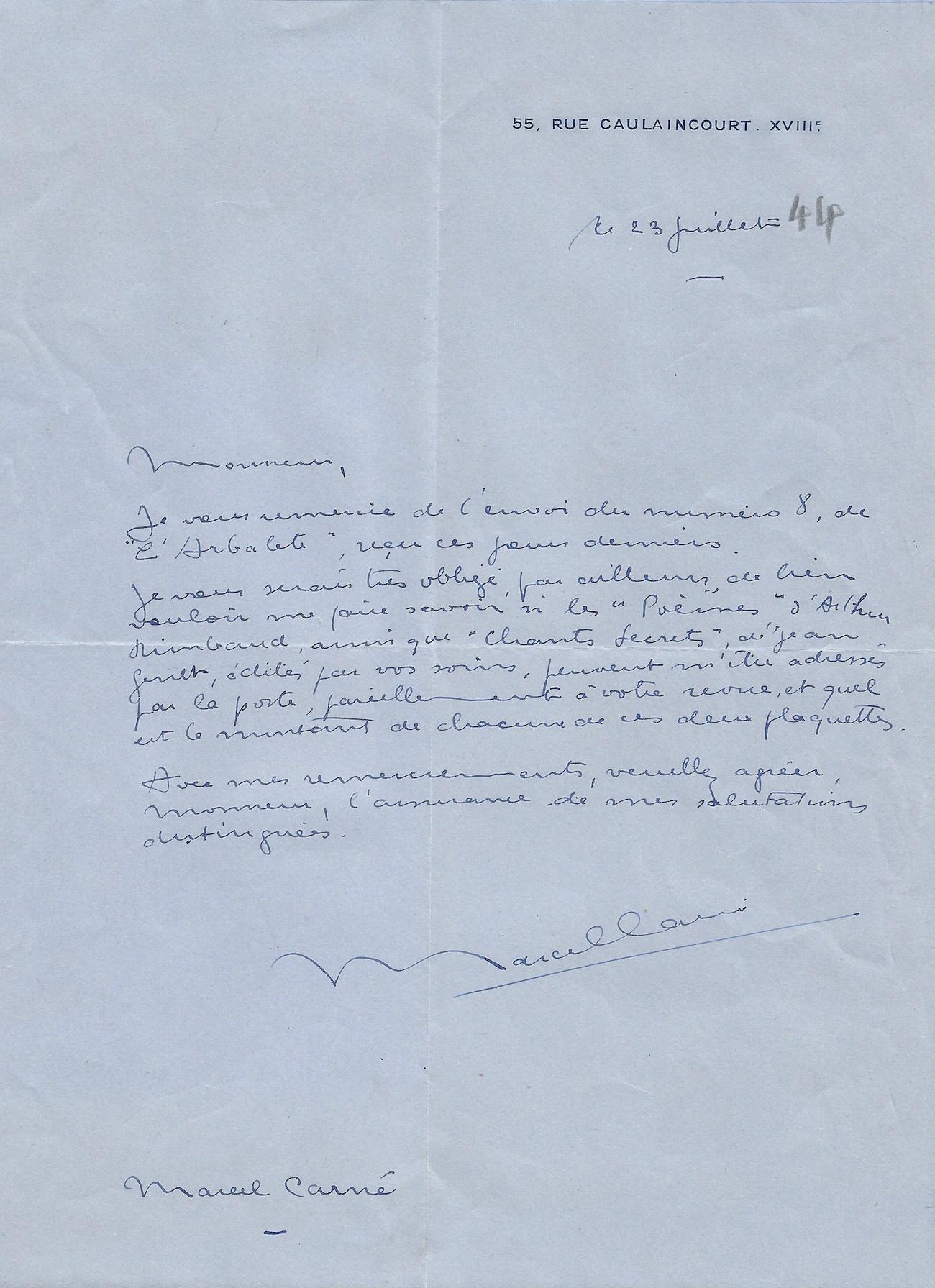 Carne Marcel Trois Lettres Autographes Signees Sur Rimbaud Et Genet