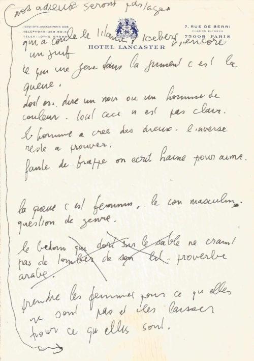 Serge GAINSBOURG Manuscrit Autographe Ses Plus Beaux Aphorismes