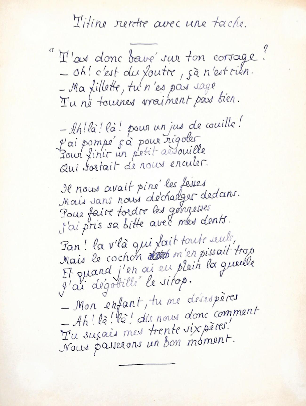Pierre Louÿs Poème Autographe Pornographique Titine Rentre Avec Une Tâche
