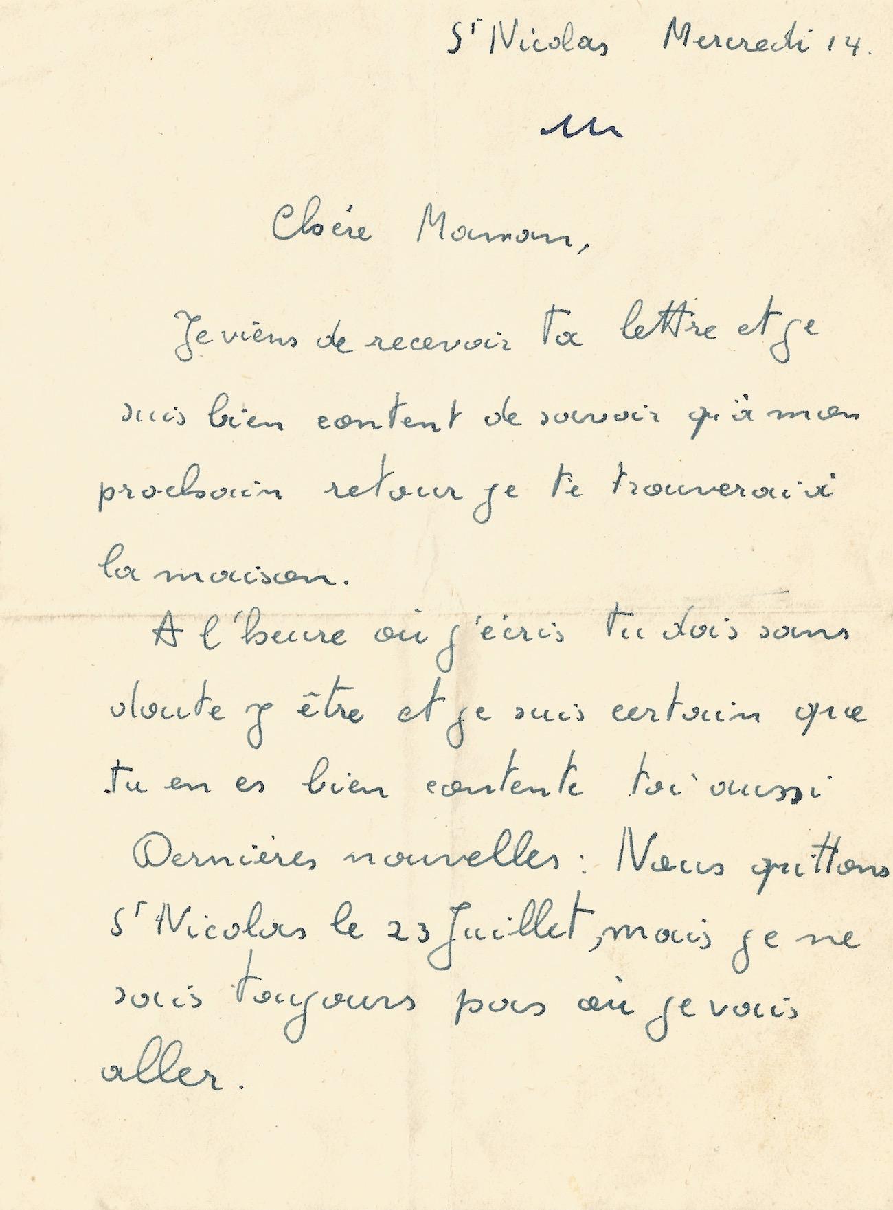Jacques Brel Lettre Autographe Signée à Sa Maman 1948